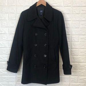 Gap recycled wool black pea coat